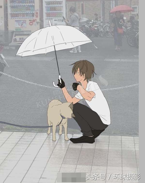 网友目睹下雨天替柴犬撑伞的男生,二次元改编版让我心