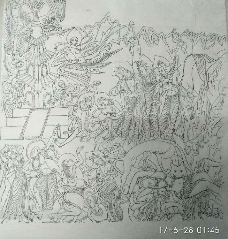 敦煌壁画精品线描