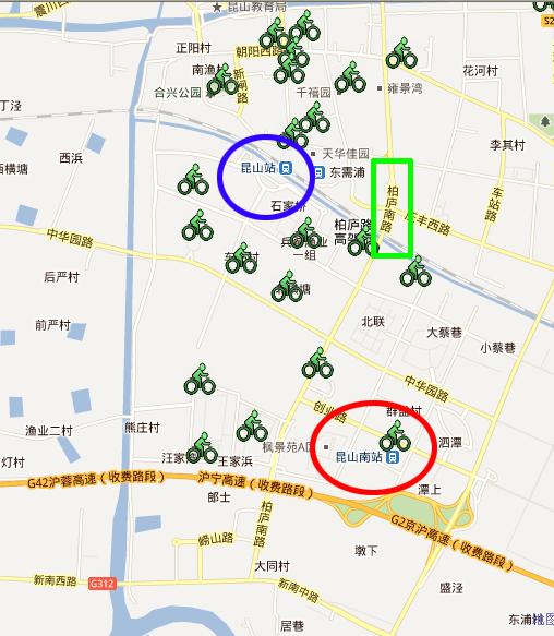 发现昆山公共自行车官方网分布图画错了|玉山广场