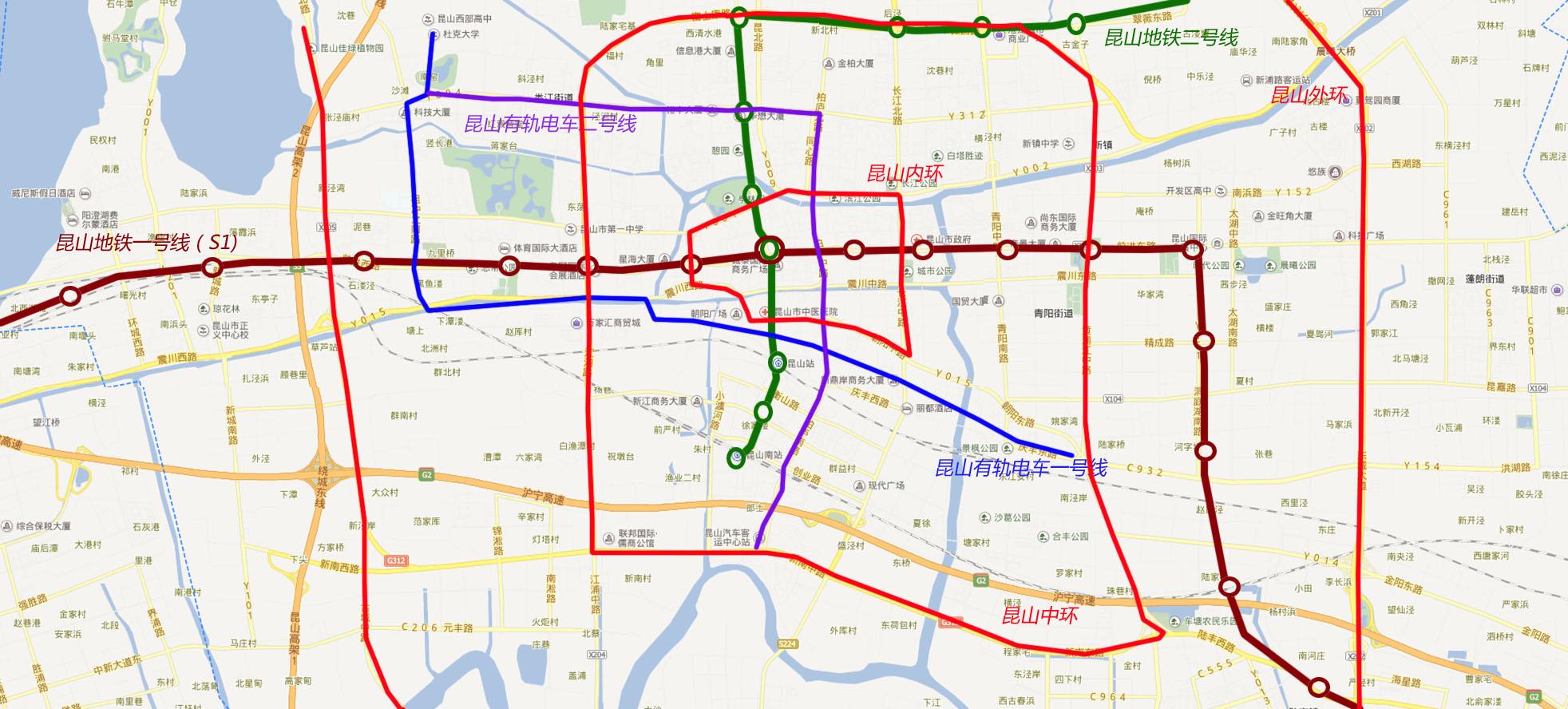 大昆山未来交通地图,预计昆山方案,地铁一号线还是将走前进路接上海11