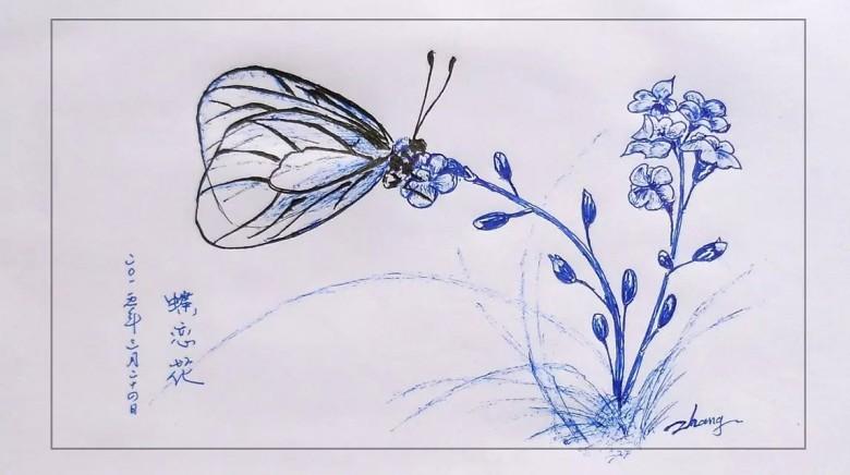 圆珠笔素描画